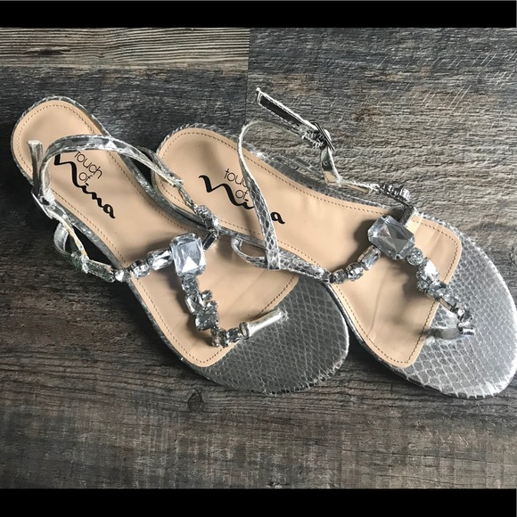 364093b9b35 Source · Touch of Nina Shoes Silver Sandals With Gems Prom Poshmark